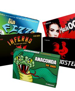 16 kapszulás potencianövelő csomag (Gin Fizz Plus, Machooh, Inferno, Anaconda, Red Rooster)